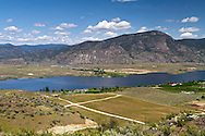 View of farmland around Osoyoos Lake near Osoyoos, British Columbia, Canada