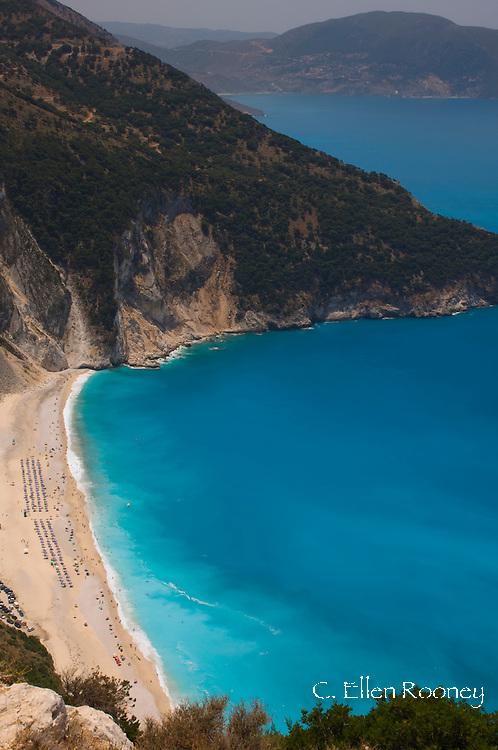 An aerial view of Myrtos Beach, Kefalonia, The Ionian Islands, Greece