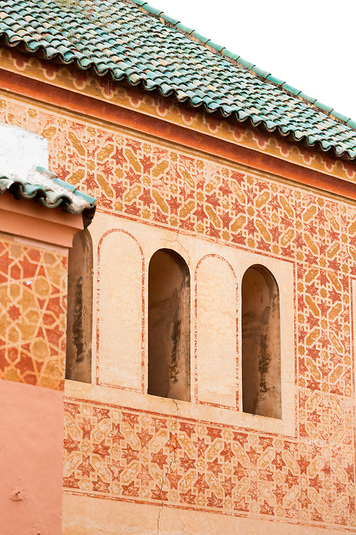 MARRAKESH, MOROCCO - 19TH APRIL 2016 - Roof exterior of the Zaouia / zawiya burial tomb shrine site of Sidi Abdullah al-Ghazwani, Marrakesh, Morocco.