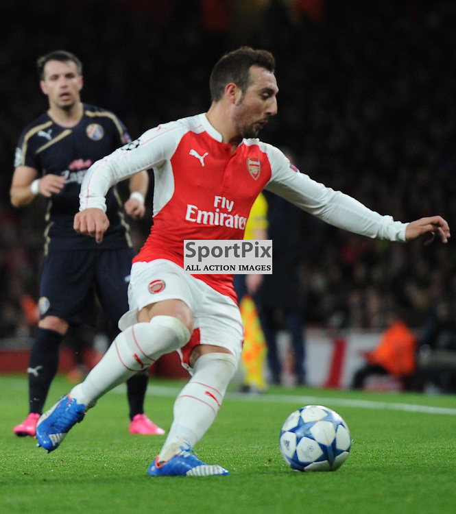 Arsenals Santi Cazorla in action during the Arsenal v Dinamo Zagreb game in the UEFA Champions League on the 24th November 2015 at the Emirates Stadium.