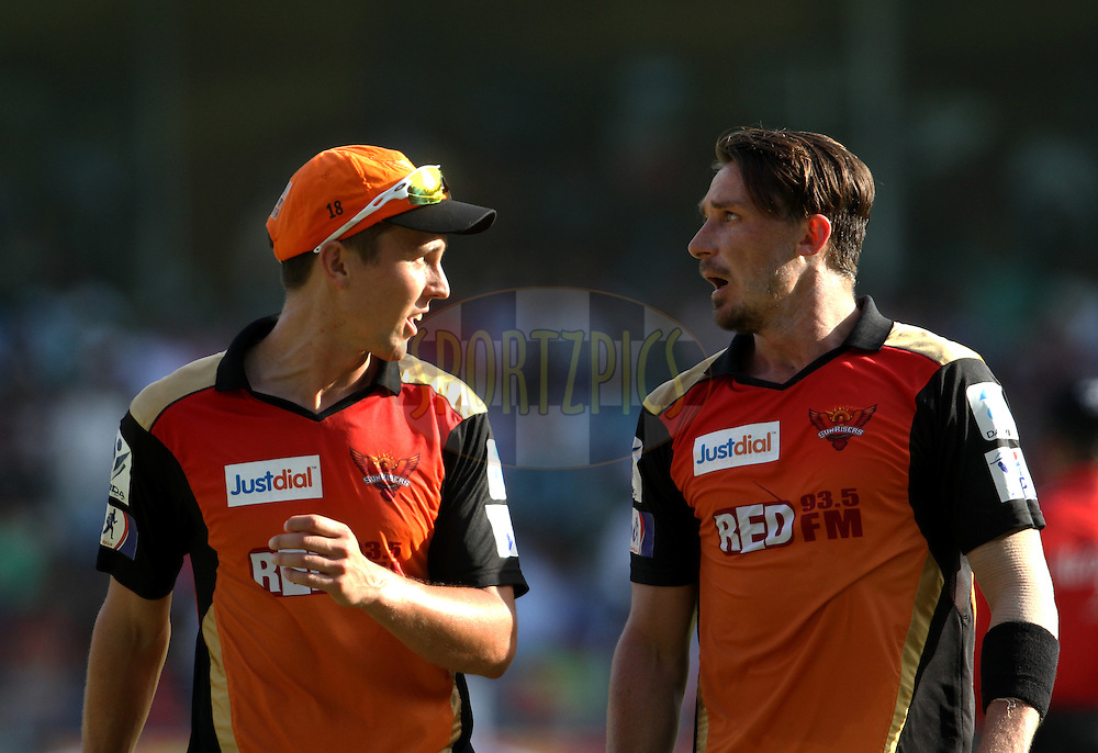 Sunrisers Hyderabad player Trent Boult and Sunrisers Hyderabad player Dale Steyn during match 23 of the Pepsi IPL 2015 (Indian Premier League) between The Mumbai Indians and The Sunrisers Hyderabad held at the Wankhede Stadium in Mumbai India on the 25th April 2015.<br /> <br /> Photo by:  Vipin Pawar / SPORTZPICS / IPL