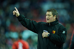 LIVERPOOL, ENGLAND - Monday, February 8, 2010: Watford's youth team manager David Kerslake during the FA Youth Cup 5th Round match at Anfield. (Pic by David Rawcliffe/Propaganda)