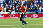 Wicket - Liam Plunkett of England celebrates taking the wicket of KL Rahul of India during the International T20 match between England and India at the SWALEC Stadium, Cardiff, United Kingdom on 6 July 2018. Picture by Graham Hunt.