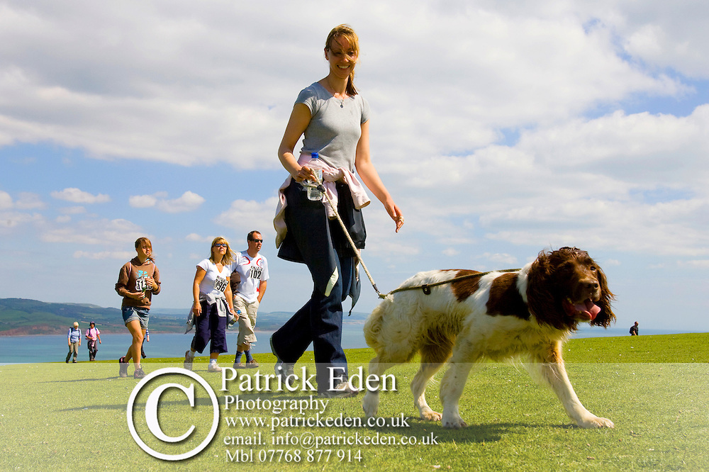 Walking Festival, Walk the Wight, walkers, dog, spanial, Tennyson Down, Isle of Wight, England, UK, Photographs of the Isle of Wight by photographer Patrick Eden photography photograph canvas canvases