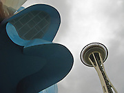 Space Needle the Experience Music Project shingled wall, Seattle Center, Seattle, Washington, USA