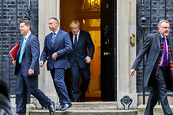 © Licensed to London News Pictures. 15/11/2016. London, UK. Northern Ireland Secretary JAMES BROKENSHIRE, Foreign Secretary BORIS JOHNSON and Scottish Secretary DAVID MUNDELL attend a cabinet meeting in Downing Street on Tuesday, 15 November 2016. Photo credit: Tolga Akmen/LNP