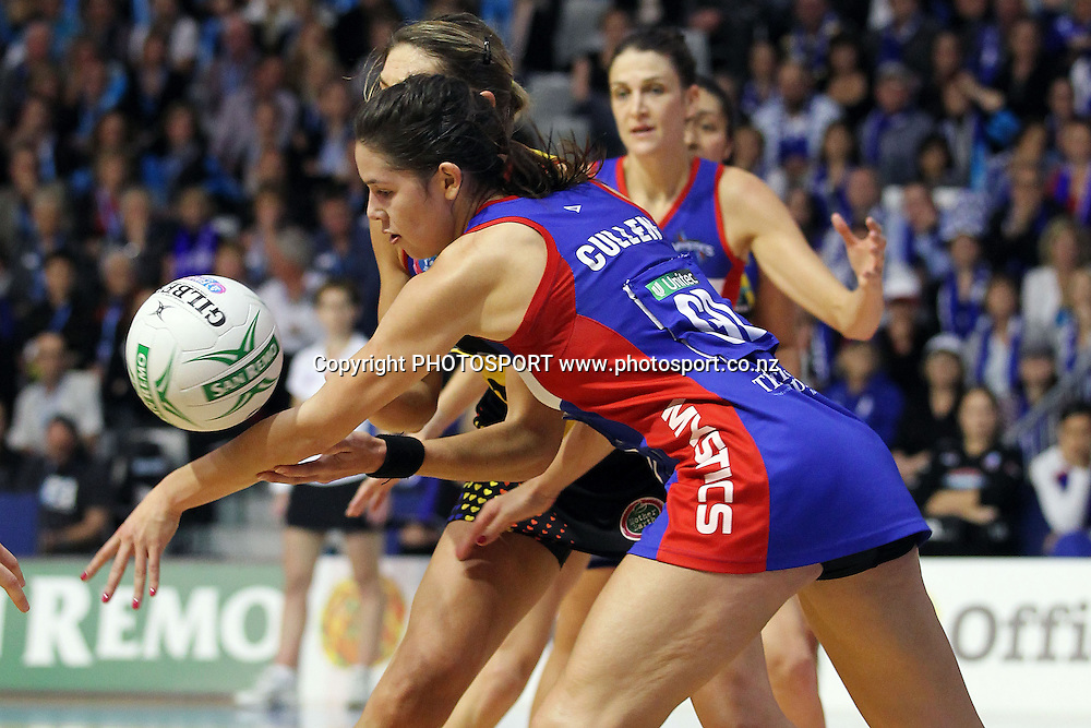 Mystics' Kayla Cullen with an intercept down the stretch. ANZ Netball Championship, Preliminary Final, Waikato/BOP Magic v LG Northern Mystics. Mystery Creek Events Centre, Hamilton, New Zealand. Sunday 15th May 2011. Photo: Anthony Au-Yeung / photosport.co.nz