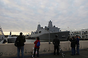 The U.S.S New York(LPD-21) a, the fifth San Antonio-class amphibious transport,  dock arrives in New York harbor for its upcoming official commissioning. The USS New York, whose construction is comprised of 7.5 short tons (6.8 t) from the rubble of the World Trade Center. ..The ship is the first to be designed fully from the CAD-screen up to support all three of the Marines' primary mobility capabilities -- the Expeditionary Fighting Vehicle (EFV), Landing Craft Air Cushion and MV-22B Osprey