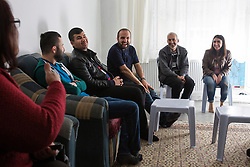 Father Adday meets with Iraqi Christian refugees after a mass celebrated at a home in Kirsehir, Turkey.<br /> Father Adday travels at least once a week across Turkey visiting Iraqi Christians.