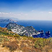 Capri and Faraglioni and on the bottom the Sorrento peninsula with Punta Campanella