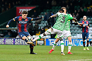 Shay McCartan (14) of Bradford City is tackled by Nathan Smith (3) of Yeovil Town during the The FA Cup 3rd round match between Yeovil Town and Bradford City at Huish Park, Yeovil, England on 6 January 2018. Photo by Graham Hunt.