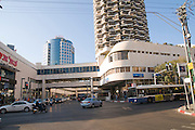 Israel, Tel Aviv Dizengoff centre shopping mall and residential tower on the intersection between Dizengoff and King George V streets