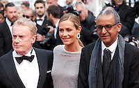 Daniel Olbrychski, Cecile de France and Abderrahmane Sissako at the Closing ceremony and premiere of La Glace Et Le Ciel at the 68th Cannes Film Festival, Sunday 24th May 2015, Cannes, France.
