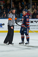 KELOWNA, CANADA - DECEMBER 29:  Orrin Centazzo #19 of the Kamloops Blazers trash talks the Kelowna Rockets as the referee steps in on December 29, 2018 at Prospera Place in Kelowna, British Columbia, Canada.  (Photo by Marissa Baecker/Shoot the Breeze)