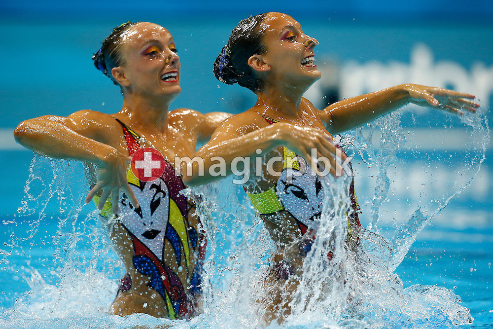 Canada's Marie-Pier Boudreau Gagnon (L) and Canada's Elise Marcotte perform in the Duet Free Routine Preliminary during the Synchronized (Synchronised) Swimming competition held at the Aquatics Center during the London 2012 Olympic Games in London, Great Britain, Monday, Aug. 6, 2012. (Photo by Patrick B. Kraemer / MAGICPBK)