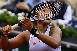 May 30, 2019 - Paris, France - Naomi Osaka of Japan in action against Victoria Azarenka (not seen) of Belarus during their second round match at the French Open tennis tournament at Roland Garros Stadium in Paris, France on May 30, 2019. (Credit Image: © Ibrahim Ezzat/NurPhoto via ZUMA Press)