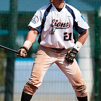 18 April 2010: Yann Dal Zotto of Savigny is seen at bat during game 1/week 2 of the French Elite season won 8-1 by Savigny (Lions) over Senart (Templiers), at Parc municipal des sports Jean Moulin in Savigny-sur-Orge, France.