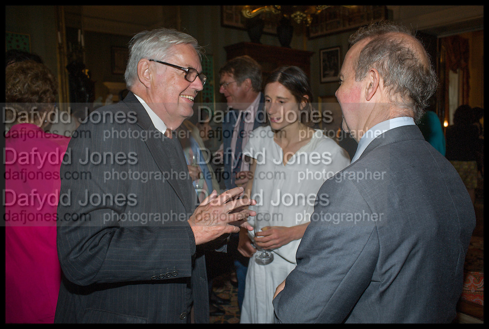 ALEXANDER CHANCELLOR; EMILY BEARN; IAN HISLOP, David Campbell and Knopf host the 20th Anniversary of the revival of Everyman's Library. Spencer House. St. James's Place. London. 7 July 2011. <br /> <br /> -DO NOT ARCHIVE-© Copyright Photograph by Dafydd Jones. 248 Clapham Rd. London SW9 0PZ. Tel 0207 820 0771. www.dafjones.com.