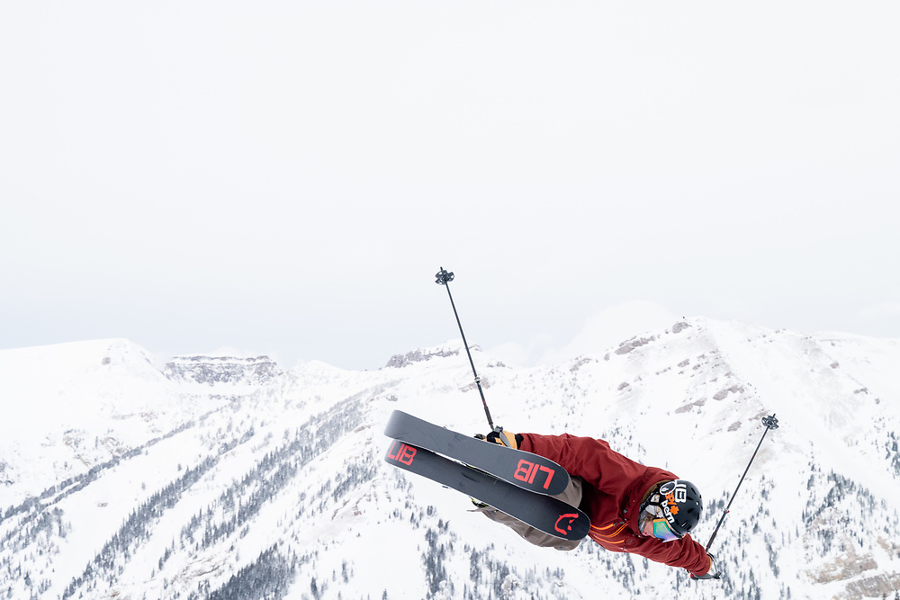 Blaine Gallivan with the tightest air of the competition off of the lower Corbet's jump.