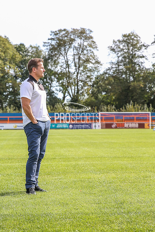 Forest Green Rovers manager, Mark Cooper surveys the surroundings before the Vanarama National League match between Braintree Town and Forest Green Rovers at the Amlin Stadium, Braintree, United Kingdom on 24 September 2016. Photo by Shane Healey.