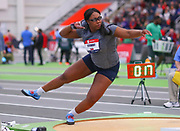 Janeah Stewart competes in the shot put during the USA Indoor Track and Field Championships in Staten Island, NY, Sunday, Feb 24, 2019. (Rich Graessle/Image of Sport)