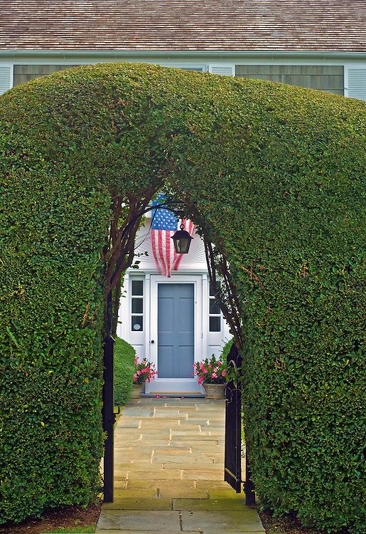 Privet Hedge, American Flag, East Hampton, New York, Long Islan
