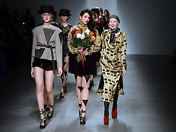 Designer Vivienne Westwood at the end of her show at London Fashion Week A/W 2014, Sunday, 16th February 2014. Picture by Stephen Lock / i-Images