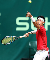 June 22, 2018 - Halle, Westphalia, Allemagne - Germany, Halle, Westphalia, Tennis, Gerry Weber Open 2018...Japanese player Yuichi Sugita (JPN) pictured during his match of 1/4 final against American player Denis Kudla (USA ) in Halle at Gerry Weber open 2018 (Credit Image: © Panoramic via ZUMA Press)