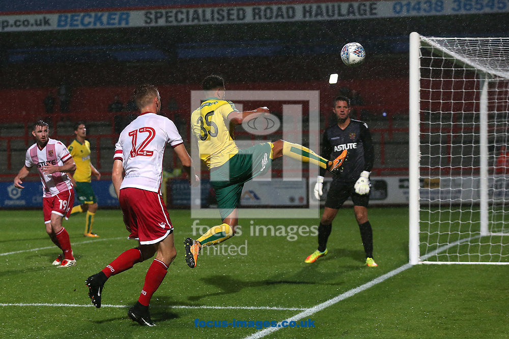 Ben Godfrey of Norwich goes close during the Pre-season Friendly match at the Lamex Stadium, Stevenage<br /> Picture by Paul Chesterton/Focus Images Ltd +44 7904 640267<br /> 11/07/2017