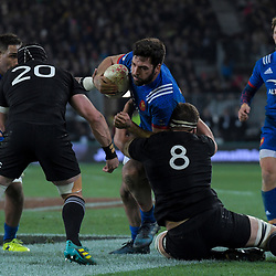 NZ's Luke Whitelock tackles France's Kevin Gourdon during the Steinlager Series international rugby match between the New Zealand All Blacks and France at Forsyth Barr Stadium in Wellington, New Zealand on Saturday, 23 June 2018. Photo: Dave Lintott / lintottphoto.co.nz