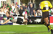 Intersport Images. .Photo: Peter Spurrier.Zurich Premiership - NEC Harlequins v London Wasps.Quin's, Mark Mapletoft, scoring a try... ...........[Mandatory Credit, Peter Spurrier/ Intersport Images][Mandatory Credit, Peter Spurrier/ Intersport Images]