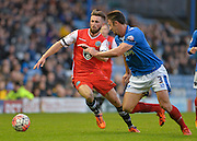 Macclesfield Towns Chris Holroyd and Portsmouths Enda Stevens during the The FA Cup match between Portsmouth and Macclesfield Town at Fratton Park, Portsmouth, England on 7 November 2015. Photo by Adam Rivers.
