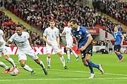 Estonia striker Sergei Zenjov on the attack during the UEFA European 2016 Qualifier match between England and Estonia at Wembley Stadium, London, England on 9 October 2015. Photo by Shane Healey.