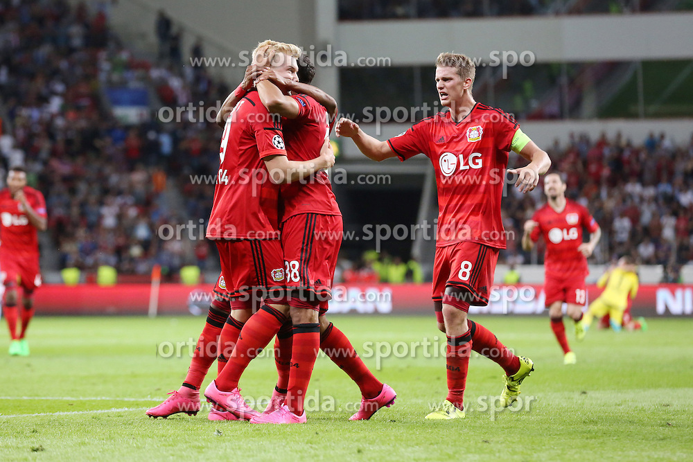 26.08.2015, BayArena, Leverkusen, GER, UEFA CL, Bayer 04 Leverkusen vs Lazio Rom, Playoff, R&uuml;ckspiel, im Bild Julian Brandt (Bayer 04 Leverkusen #19), Torschuetze Karim Bellarabi (Bayer 04 Leverkusen #38), Nascimento Borges Wendell (Bayer 04 Leverkusen #18) und Lars Bender (Bayer 04 Leverkusen #8) beim Torjubel nach dem Treffer zum 3:0 // during UEFA Champions League Playoff 2nd Leg match between Bayer 04 Leverkusen and SS Lazio at the BayArena in Leverkusen, Germany on 2015/08/26. EXPA Pictures &copy; 2015, PhotoCredit: EXPA/ Eibner-Pressefoto/ Schueler<br /> <br /> *****ATTENTION - OUT of GER*****