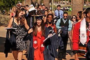 Undergraduates head to the graduation commencement ceremony at the University of Arizona, Tucson, Arizona, USA.