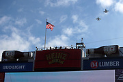 U.S. military jets fly over Heinz Field during pregame festivities and the playing of the National Anthem before the Pittsburgh Steelers NFL 2018 AFC Divisional playoff football game against the Jacksonville Jaguars, Sunday, Jan. 14, 2018 in Pittsburgh. The Jaguars won the game 45-42. (©Paul Anthony Spinelli)