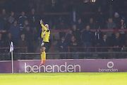 Dagenham & Redbridge forward Ashley Hemmings scores Dagenham & Redbridge  equaliser during the Sky Bet League 2 match between York City and Dagenham and Redbridge at Bootham Crescent, York, England on 20 October 2015. Photo by Simon Davies.