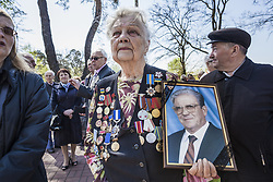 April 26, 2018 - Kiev, Kiev, Ukraine - Widow with a photo of her dead husband, who worked in the Chernobyl accident, during the celebrations in Kiev of the 32nd anniversary of the Chernobyl  nuclear accident, Ukraine. (Credit Image: © Celestino Arce/NurPhoto via ZUMA Press)