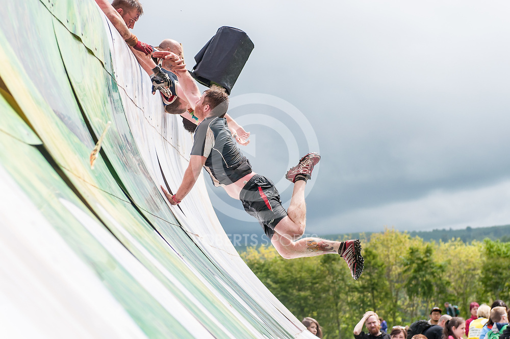 Competitors take on Everest 2.0 during Tough Mudder Scotland at Drumlanrig Castle in Thornhill, 20 June 2015. (c) Paul J Roberts / Sportpix.org.uk