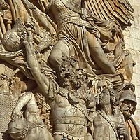 Sculpture on the Arc de Triomphe in Paris near the Champs Elysees