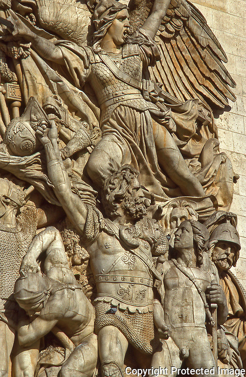 Sculpture on the Arc de Triomphe in Paris near the Champs Elysees