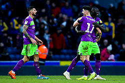 Callum O'Dowda, Famara Diedhiou and Eros Pisano of Bristol City celebrate victory over Blackburn Rovers - Mandatory by-line: Robbie Stephenson/JMP - 09/02/2019 - FOOTBALL - Ewood Park - Blackburn, England - Blackburn Rovers v Bristol City - Sky Bet Championship