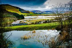 The River Tweed in flood in the Tweed valley between Broughton and Peebles in the Scottish Borders. The aftermath of Storm Doris.<br /> <br /> (c) Andrew Wilson   Edinburgh Elite media