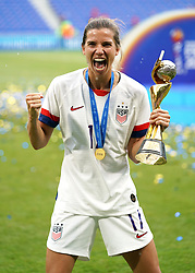 USA's Tobin Heath celebrates with the FIFA Women's World Cup Trophy after the final whistle