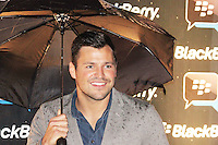 Mark Wright was attending Blackberry's BBM Event - a celebration of the smartphone's free instant messaging app. The Bankside Vaults, London, UK. April 03, 2012. (Photo by Brett Cove)