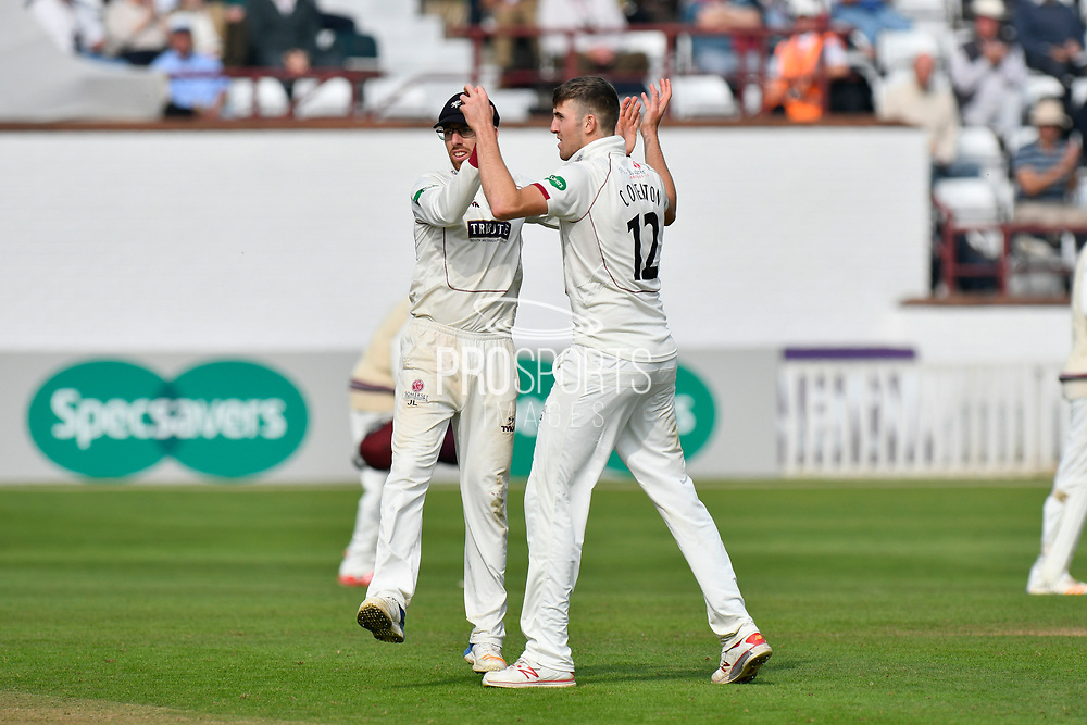 Wicket - Craig Overton of Somerset celebrates taking the wicket of Ravi Patel of Middlesex with Jack Leach of Somerset during the Specsavers County Champ Div 1 match between Somerset County Cricket Club and Middlesex County Cricket Club at the Cooper Associates County Ground, Taunton, United Kingdom on 26 September 2017. Photo by Graham Hunt.