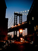 View of the Manhattan Bridge by night from Washington Street in DUMBO, Brooklyn, New York, 2008.
