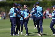 Yorkshire Diamonds Katie George celebrates her wicket  during the Vitality T20 Blast North Group match between Lancashire Thunder and Yorkshire Vikings at Liverpool Cricket Club, Liverpool, United Kingdom on 13 August 2019.