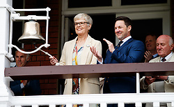 Diana Keen rings the 5 minute bell during day one of the First NatWest Test Series match at Lord's, London. PRESS ASSOCIATION Photo. Picture date: Thursday May 24, 2018. See PA story CRICKET England. Photo credit should read: John Walton/PA Wire. RESTRICTIONS: Editorial use only. No commercial use without prior written consent of the ECB. Still image use only. No moving images to emulate broadcast. No removing or obscuring of sponsor logos.