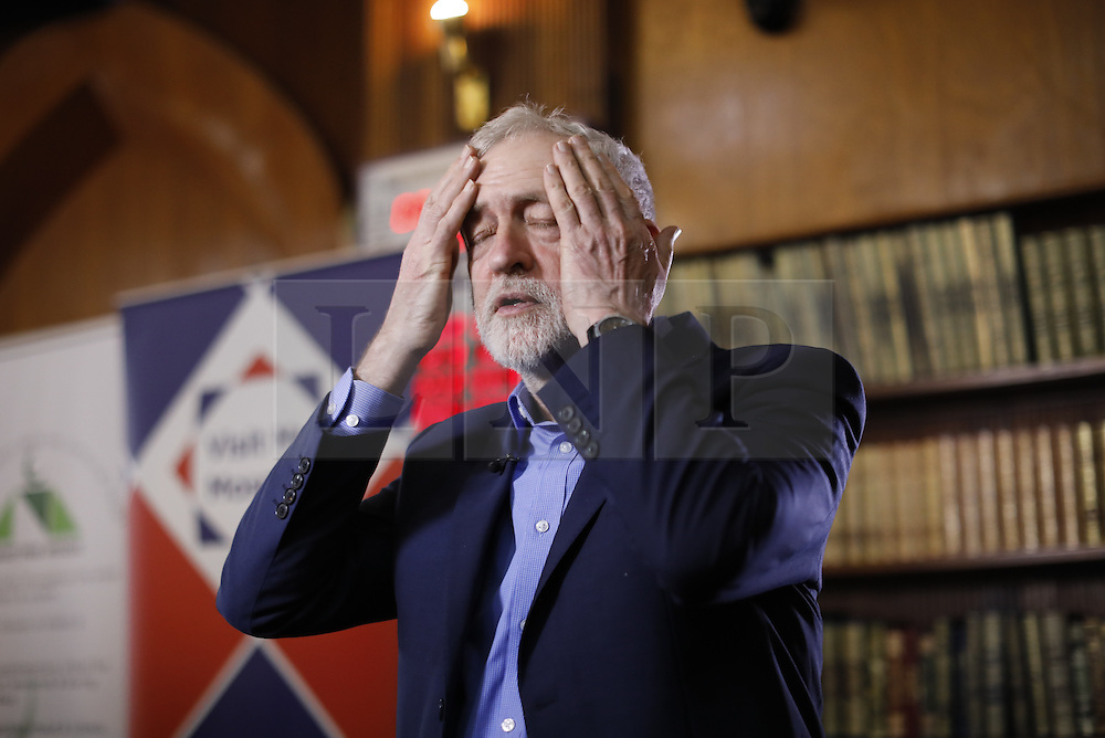 © Licensed to London News Pictures. 05/02/2017. London, UK.  Labour leader JEREMY CORBYN gets ready to give a TV interview during an open day at Finsbury Park Mosque in North London.  On Visit My Mosque Day over 150 mosques around the UK open their doors to the public, offering a better understanding of religion in effort to counter rising Islamophobia.  Photo credit: Tolga Akmen/LNP